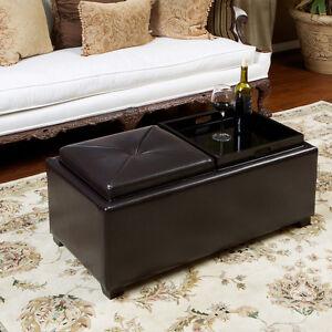 Storage ottoman with tray car interior design