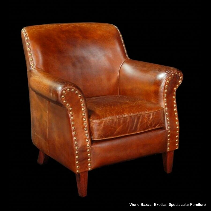 34quot Wide Club Chair Vintage Brown Cigar Italian Leather