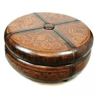 """45"""" round ottoman cocktail table amazing carvings hand ..."""