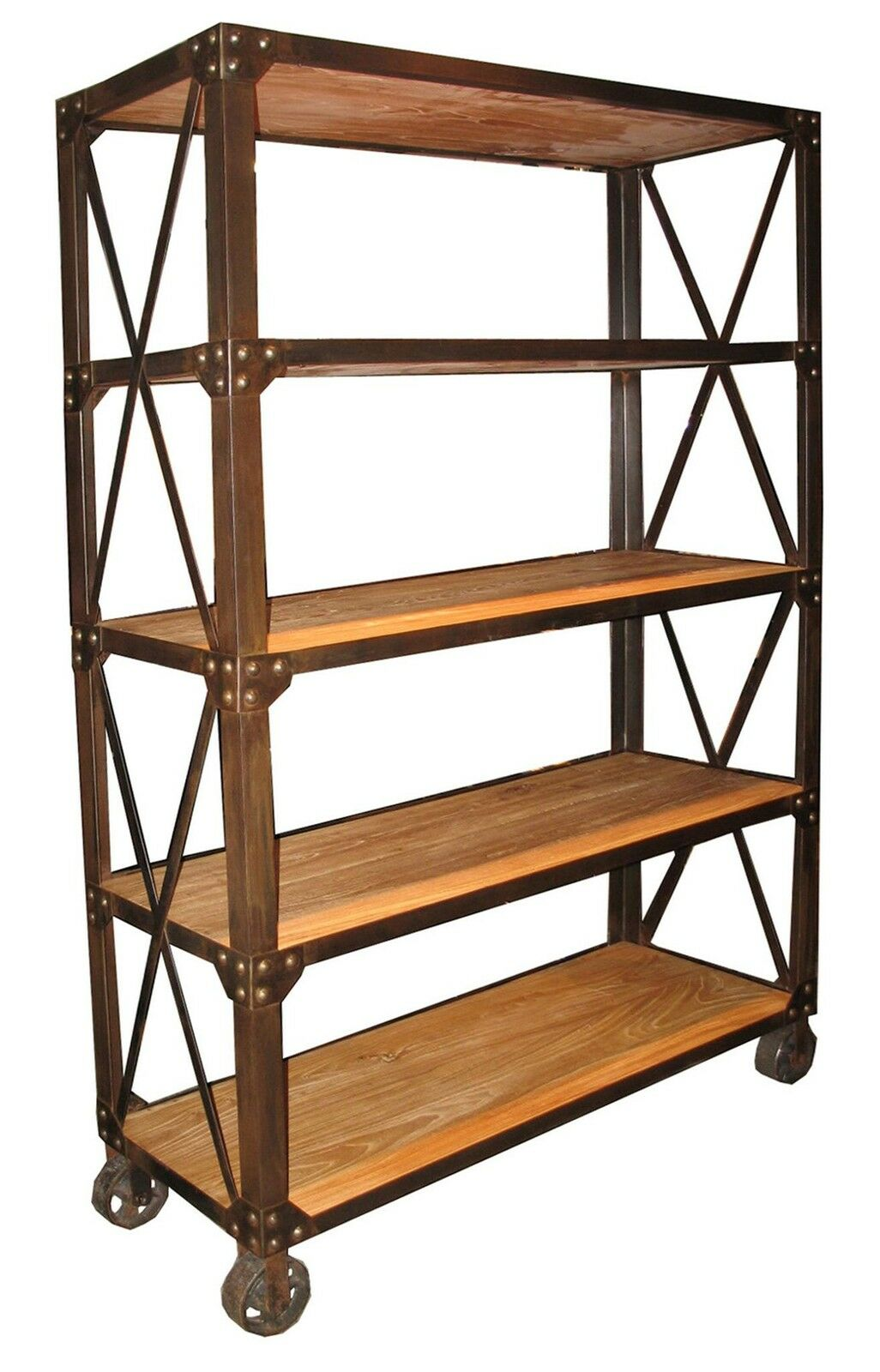 78quot Tall Bookcase Elm Wood 5 Shelves Rusty Metal On