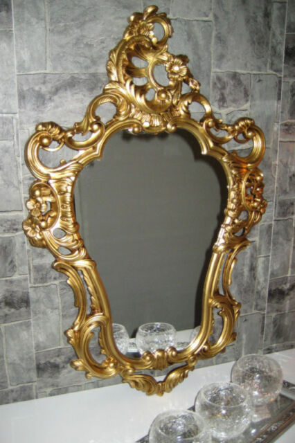 Couchtisch 50 Antique Baroque Wall Mirror Gilt White Black Silver Ornate