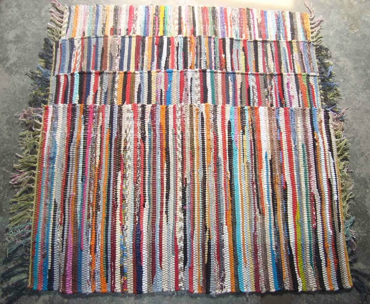 Woven Rugs Fair Trade Handmade Indian Chindi Rag Rugs Hand Woven Mat