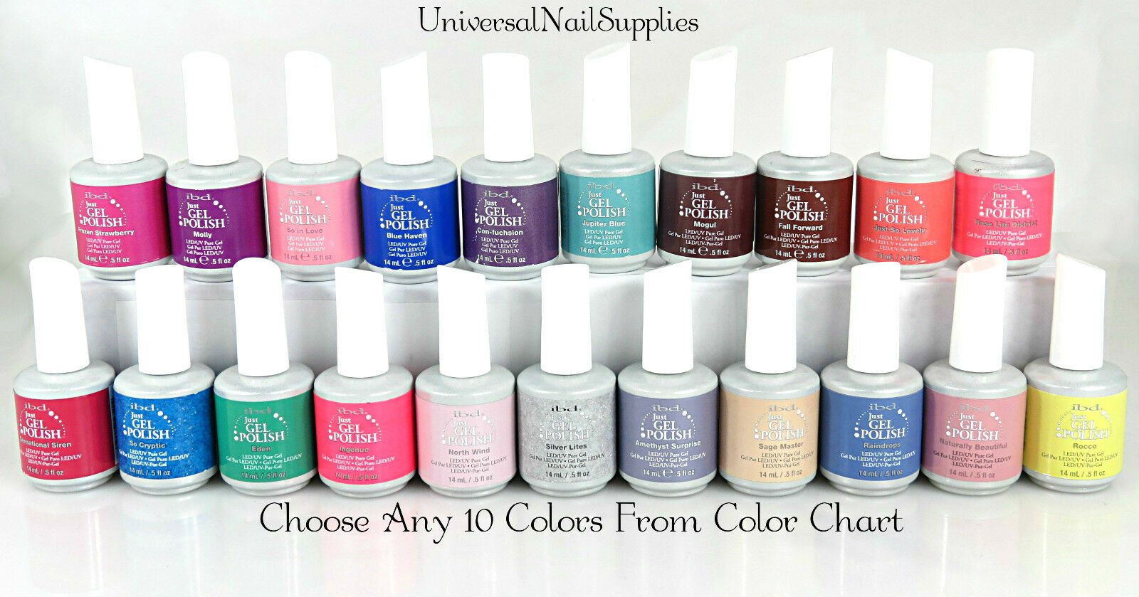 Gel Colors Ibd Gel Nail Polish Choose Any 10 Colors From Color Chart