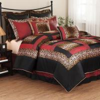 Cal King Leopard Zebra Patch Animal Print Comforter ...
