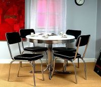Retro Round Chrome Table and 4 Black Chairs 50's Kitchen ...