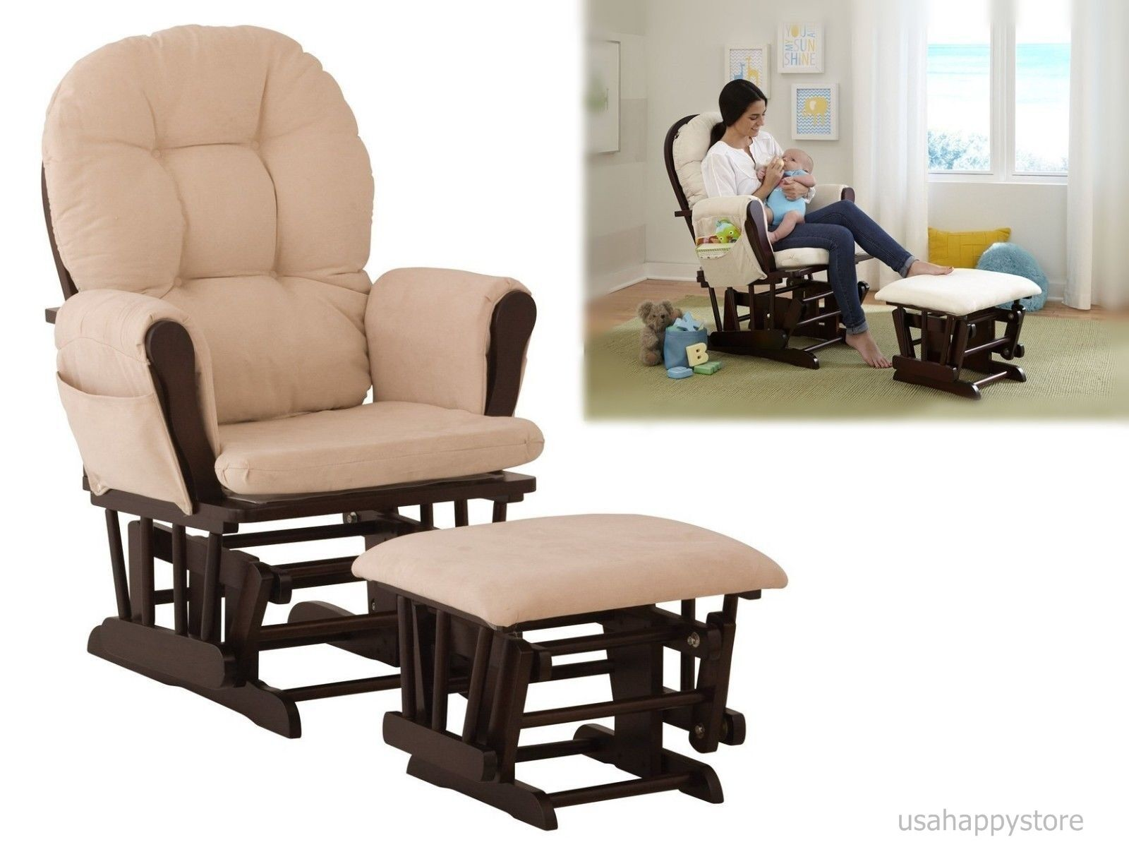 Glider Rocker Rocking Chair With Ottoman Set Baby Relax