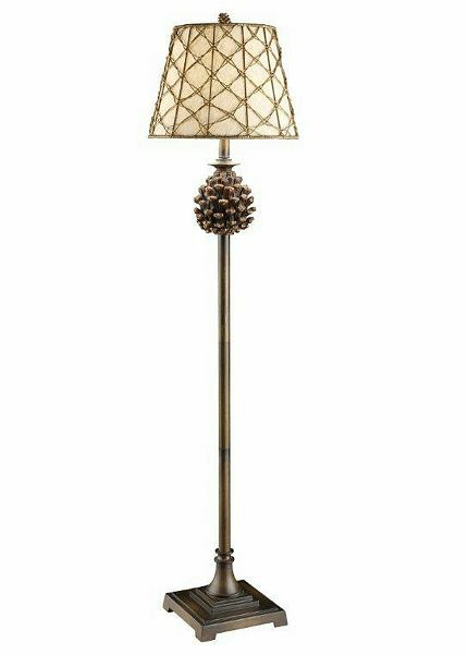Pine Bluff Floor Lamp Pinecone Rustic Log Cabin Lake Lodge