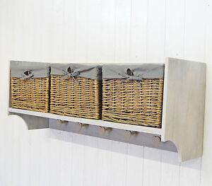 Wall Shelf Storage Unit With Lined Willow Basket Storage
