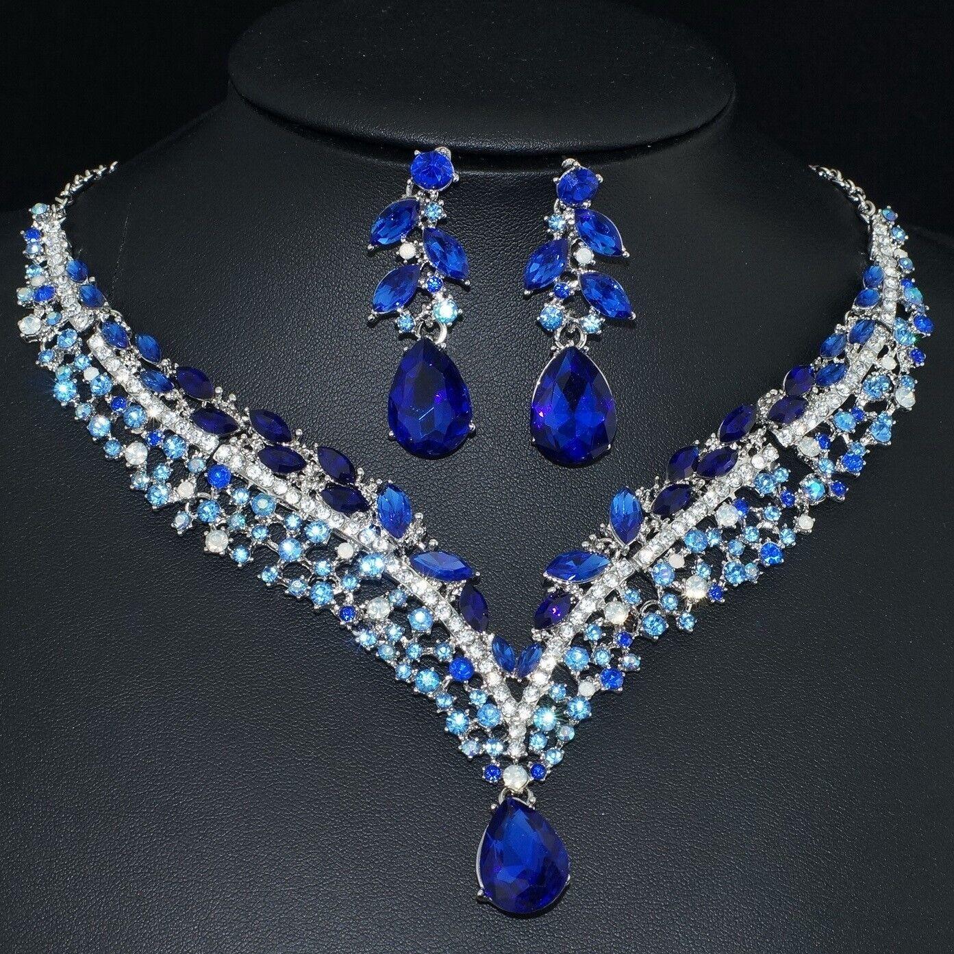 YT293 Blue Rhinestone Crystal Earrings Necklace Set Bridal