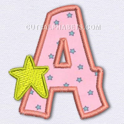 Letter A - Cute Alphabets - Embroidery Fonts