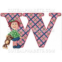 Letter W - Cute Alphabets - Embroidery Fonts