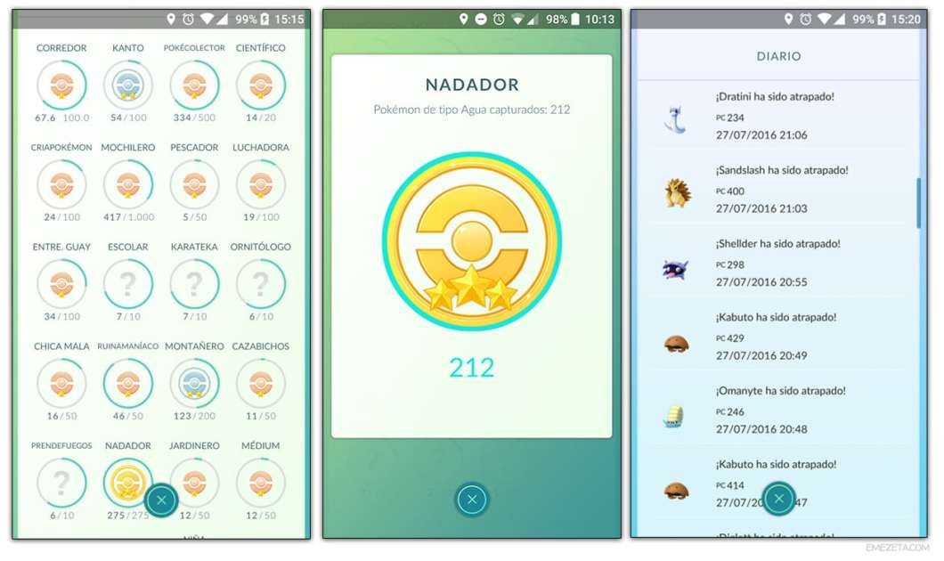 Pokémon Go: Insignias y diario