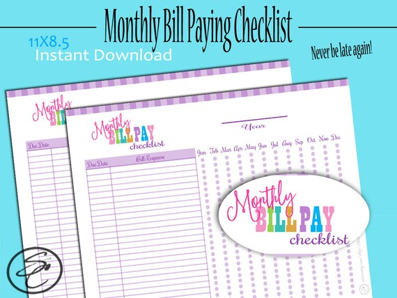 Bill Pay, Bill Pay Tracker, Bill Pay Checklist, Monthly Bill Tracker - bill organizer