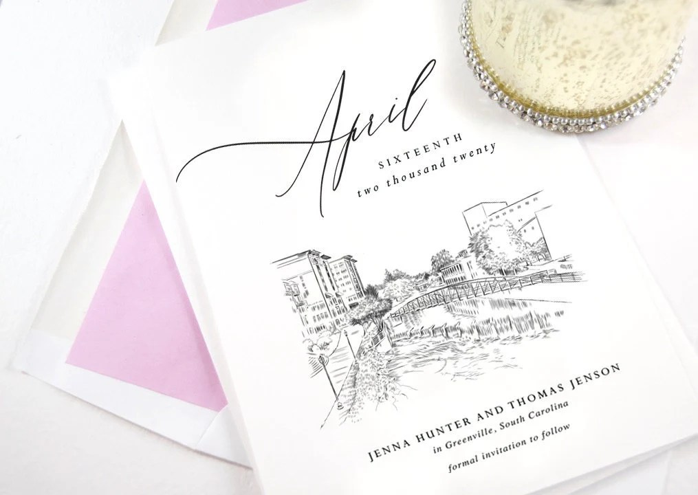 Greenville Skyline Save the Date Cards Wedding Save the Etsy