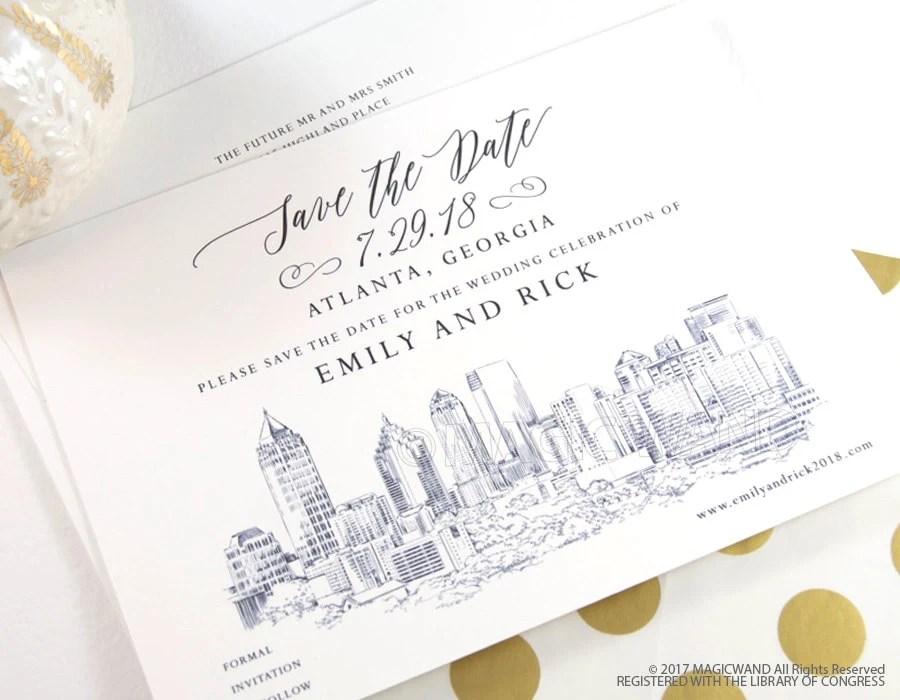 Atlanta Wedding Save the Date Cards Save the Dates Atlanta Etsy