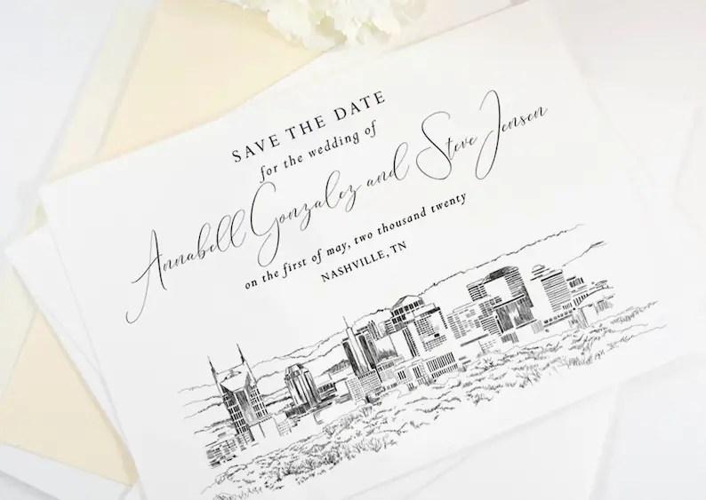 Nashville Skyline Wedding Save the Dates STD Save the Date Etsy