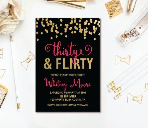 Thirty  Flirty Birthday Invitation - 30th Birthday Party Invitation