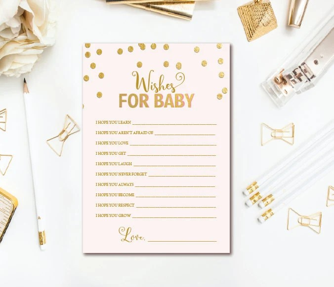 Pink and Gold Baby Shower Well Wishes for Baby Printable - Dear Baby