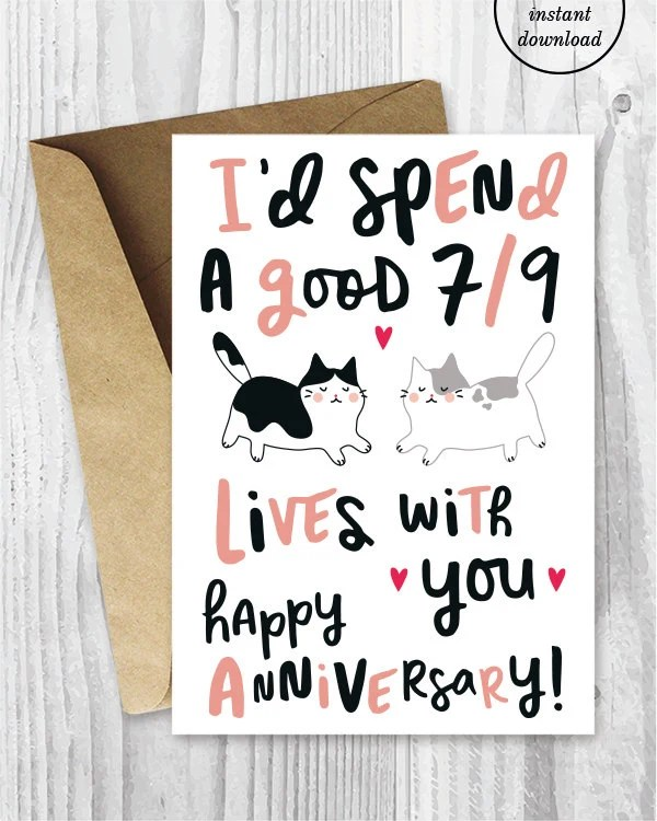 Anniversary Cards Printable Anniversary Card Funny Etsy