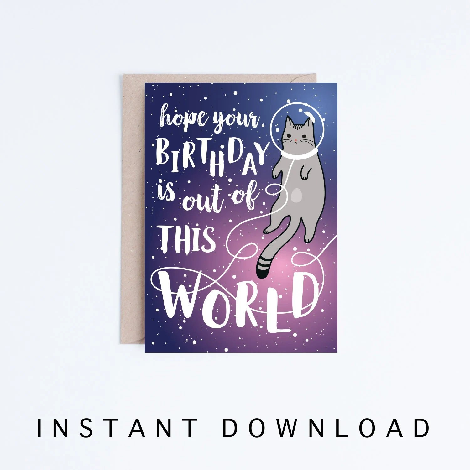 Galaxy Printable Birthday Cards Funny Space Cat Birthday Etsy