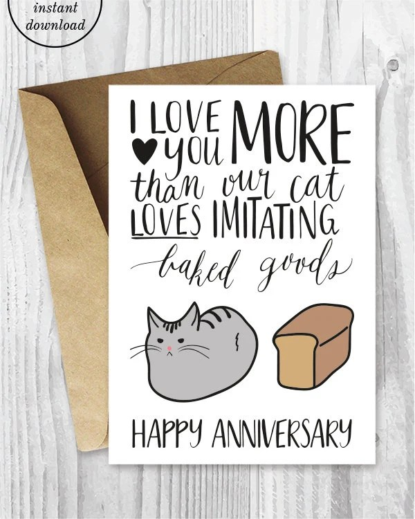 Anniversary Cards Printable Anniversary Card Cat Loaf Funny Etsy