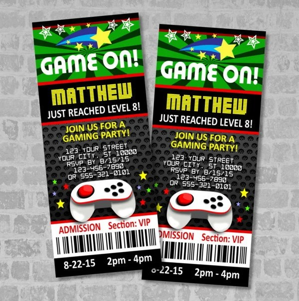 Video Games Party Ticket Invitations Gaming Birthday Party Etsy