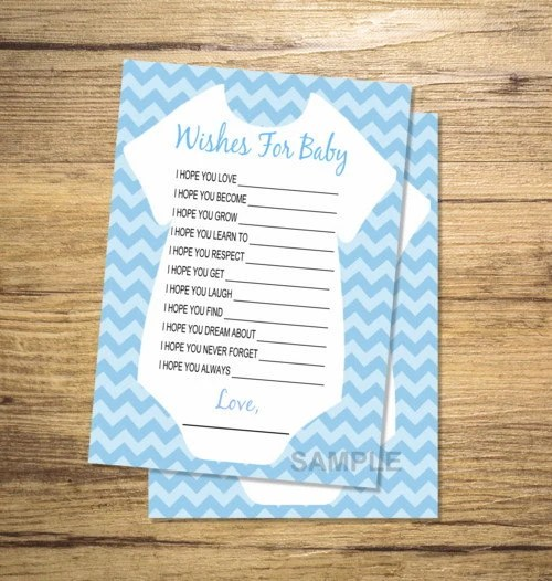 Printable Wishes for Baby Boy Baby Shower Game Blue Chevron Etsy