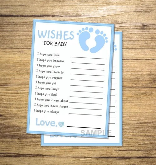 Printable Wishes for Baby Boy Baby Shower Game Blue Baby Etsy