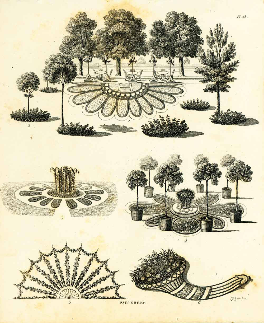 Decor De Parterre 1839 Garden Design Antique Ornamental Garden Print Carpet Bedding Horticulture Lithograph Wall Art Home Decor