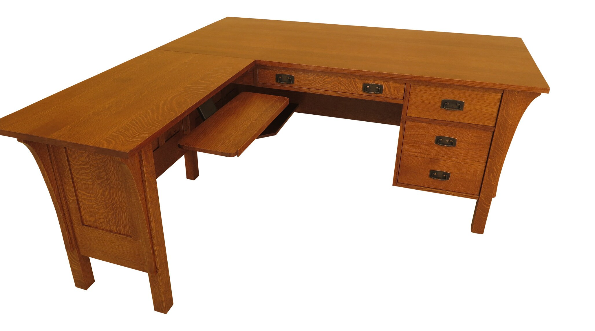 Executive L Shaped Desk 46028ec Stickley Arts Crafts Oak Executive L Shaped Desk