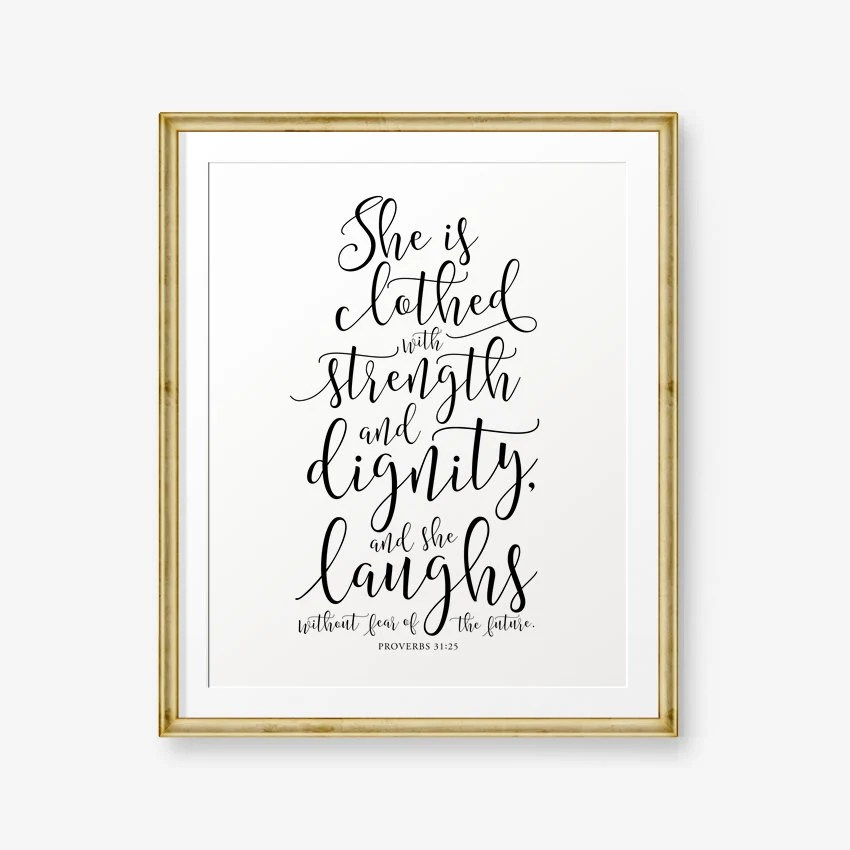 Bible Verse printable, Proverbs 3125, She is clothed with strength