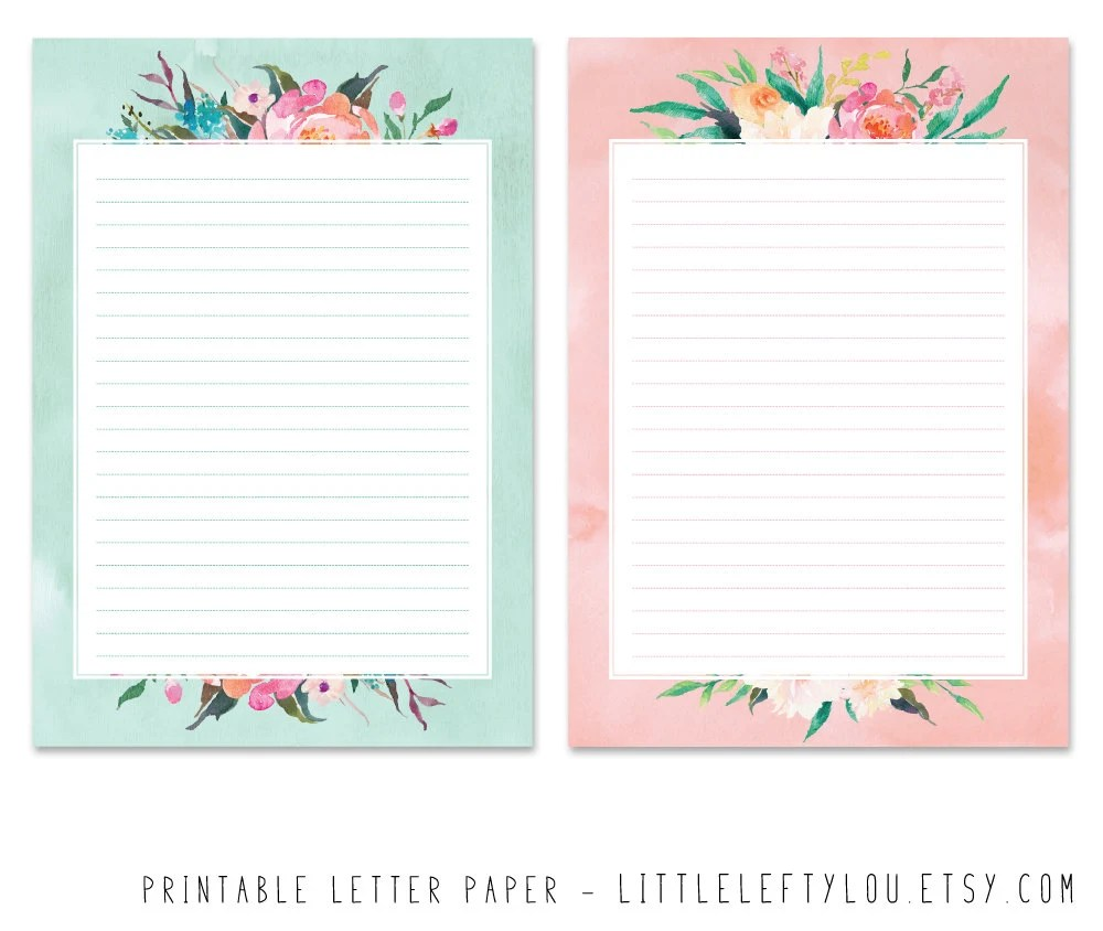 Printable Letter Paper Floral stationery writing letter - printable letter paper with lines