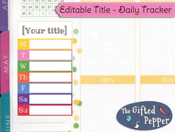 Track anything Editable Daily Tracker Printable Weekly Etsy