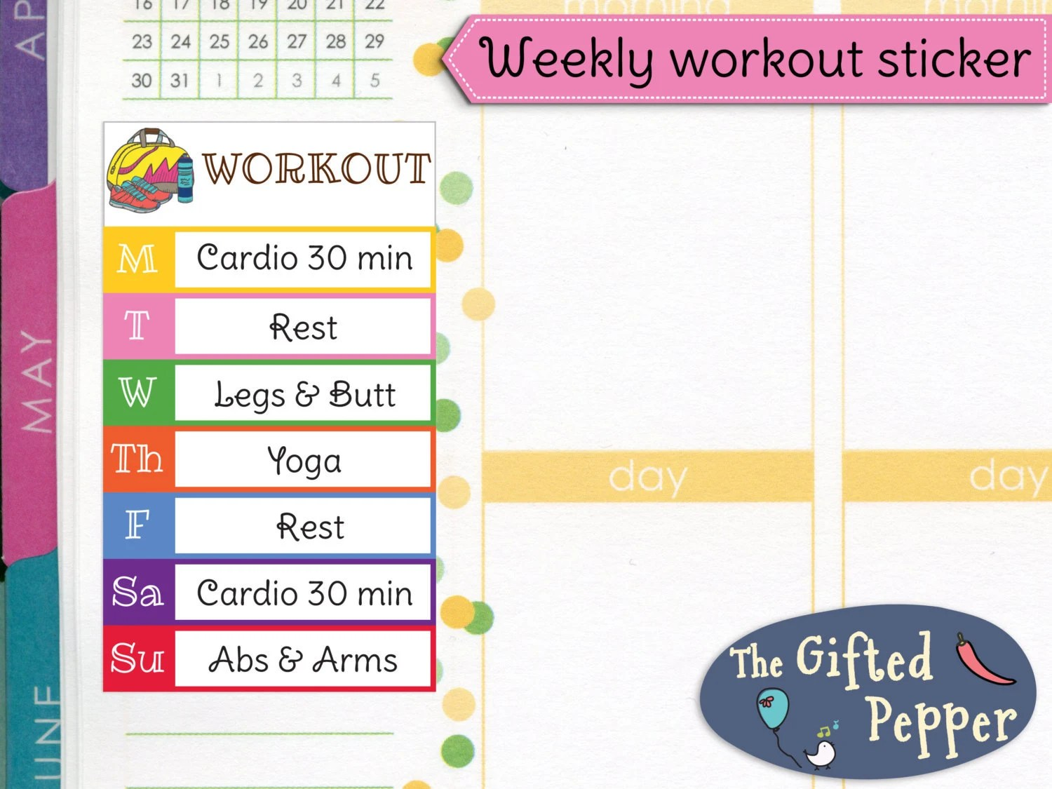 PRINTED Weekly workout plan stickers Exercise log fitness Etsy