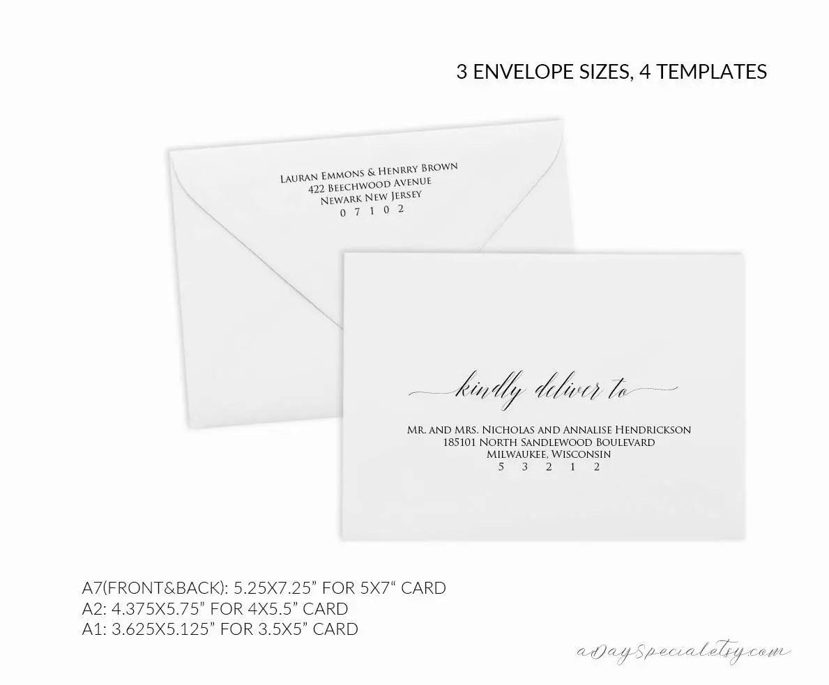 Printable Envelope Template , Editable Envelope Template, A7, A2, A1