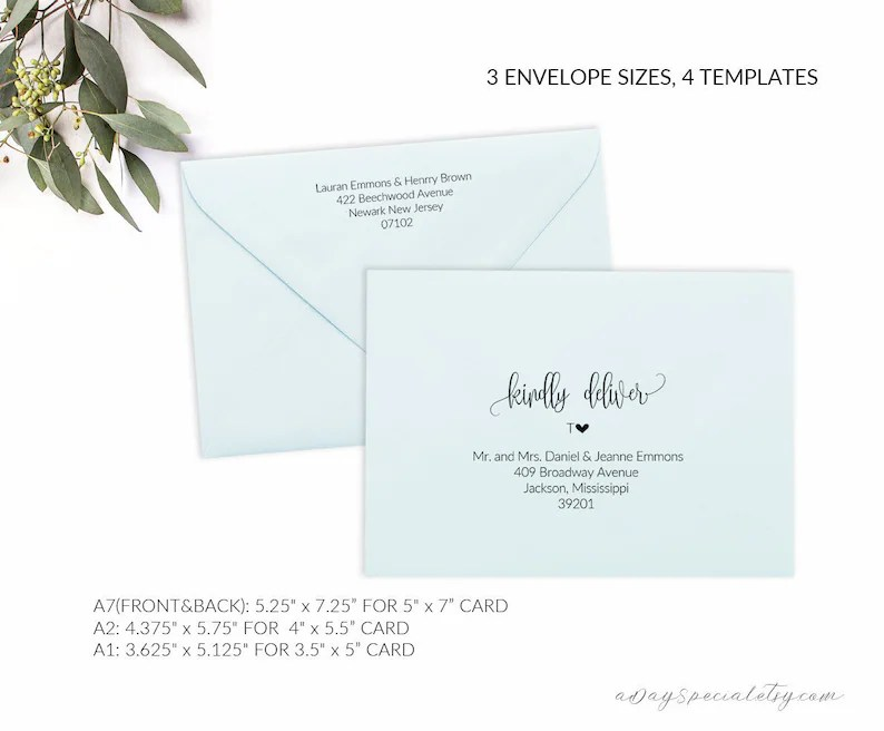 Printable Envelope Template Editable Envelope Template A7 Etsy