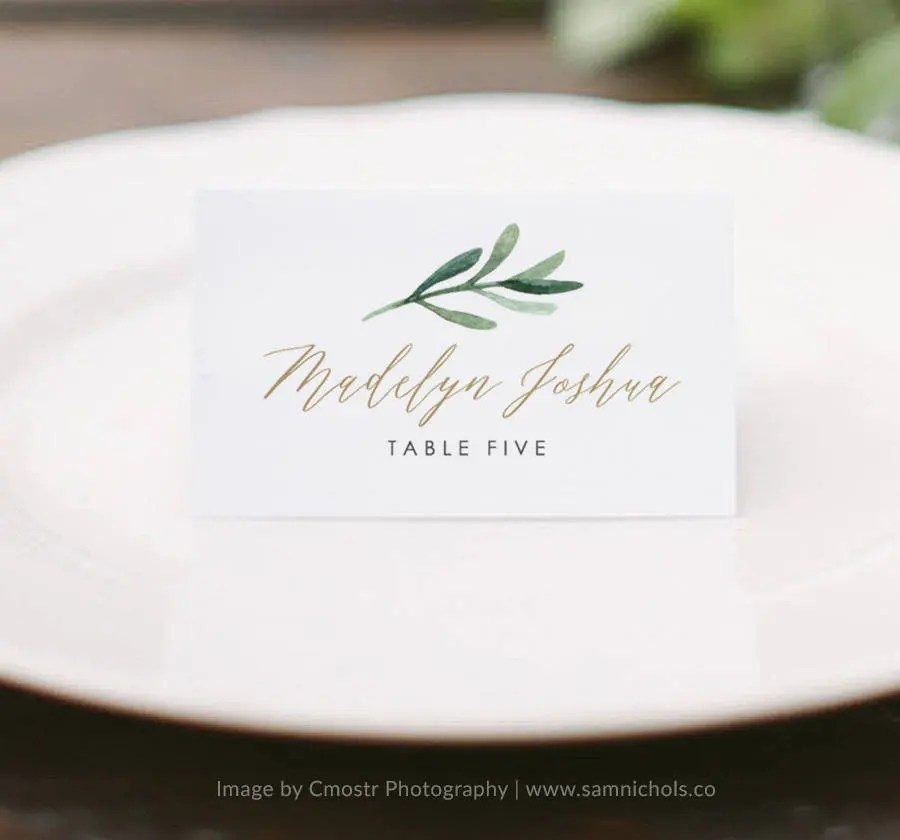Greenery Place Card Template Printable Place Cards Wedding Etsy