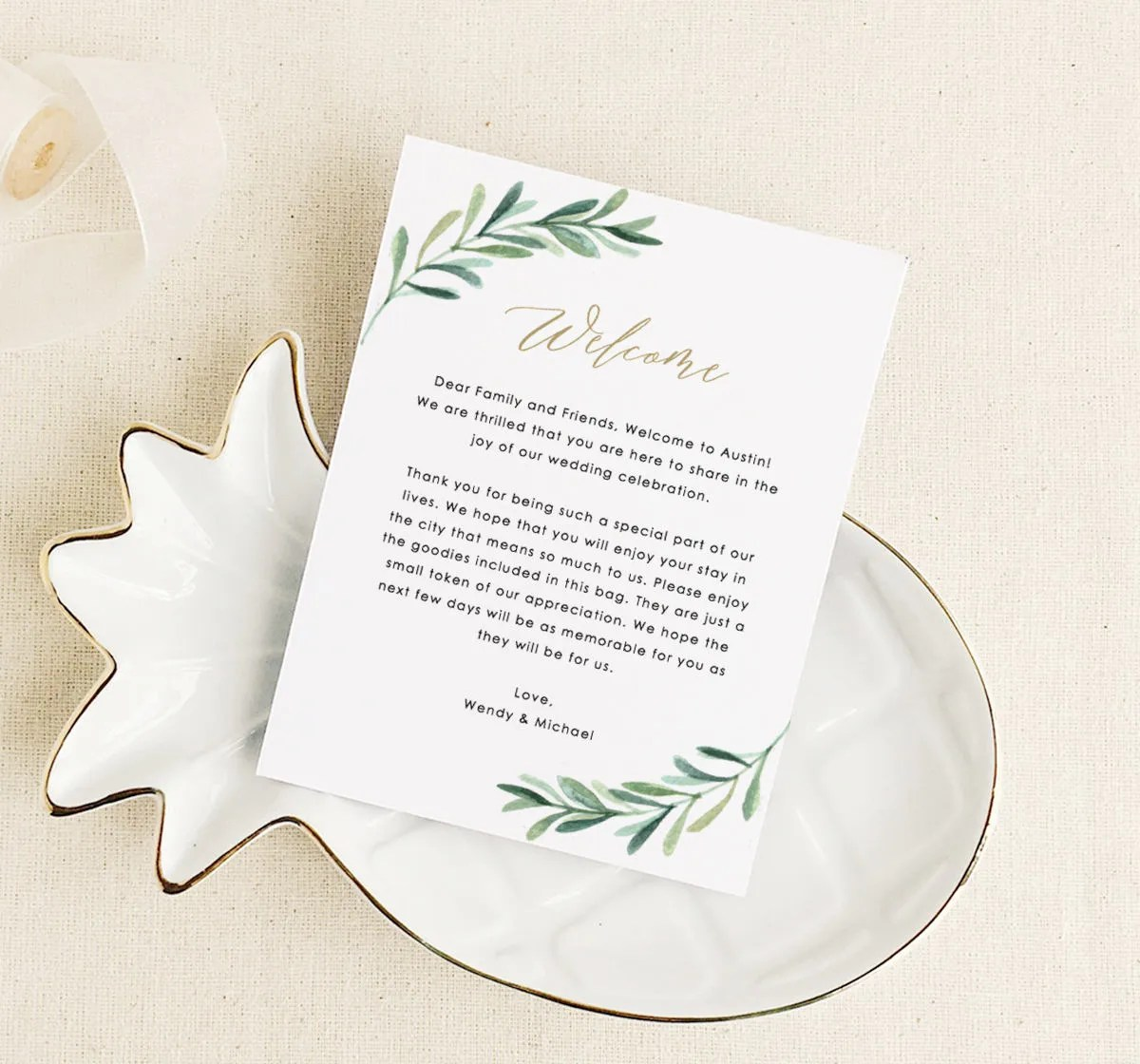 Greenery Welcome Card Template Wedding Welcome Cards Etsy