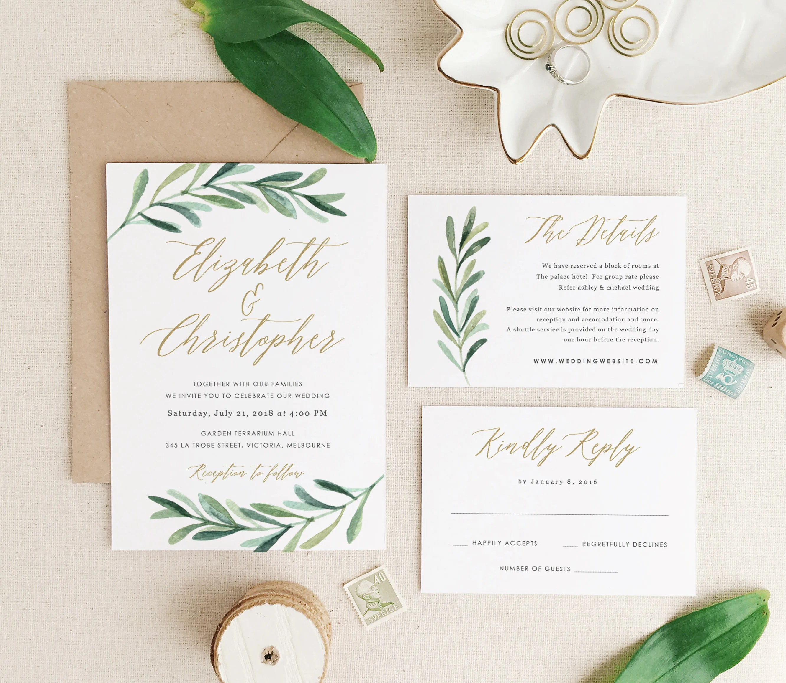 Greenery Wedding Invitation Template Printable Wedding Etsy
