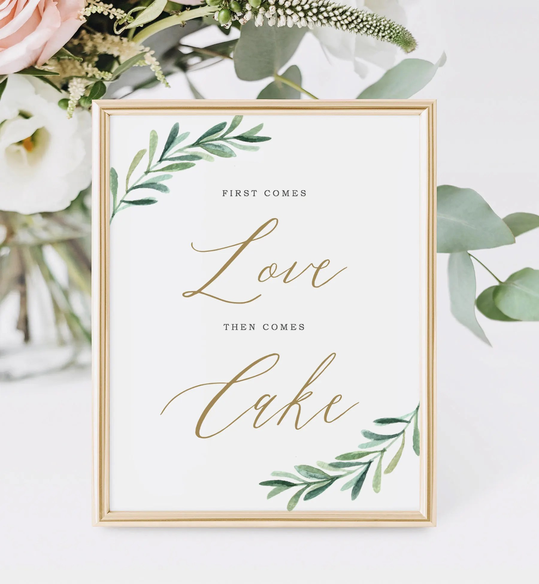Wedding Cake Sign Printable Wedding Signs First Comes Love Etsy