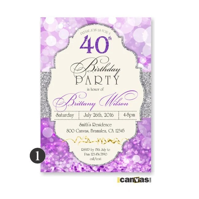 Purple Birthday Invitation Glitter Surprise Party Adult Etsy