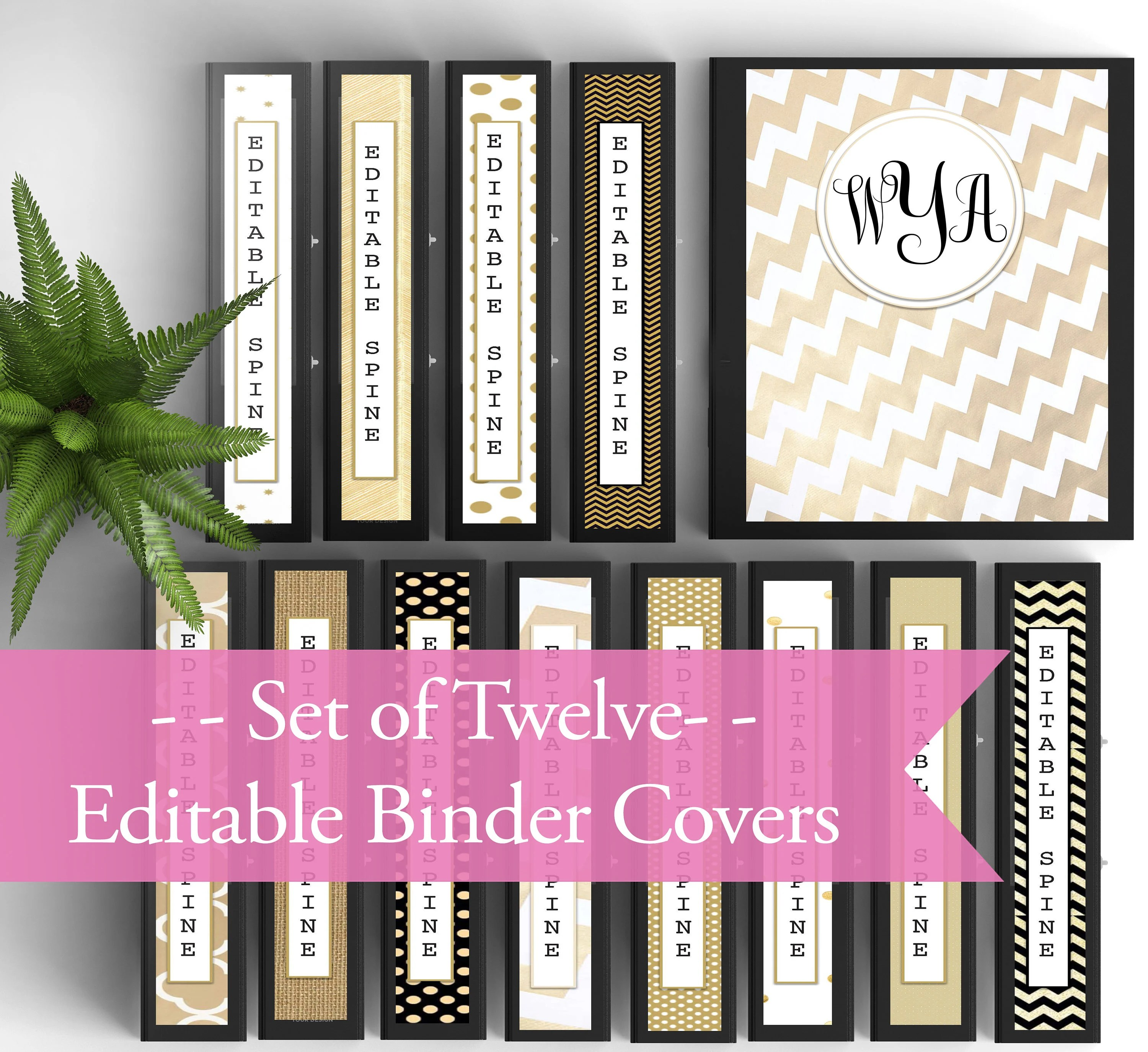 12 MONOGRAM Background and Binder INSERTS/ Covers with Spines Etsy