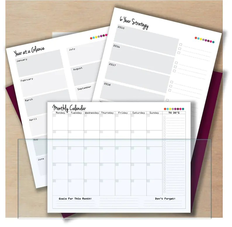 Printable planner pages personalized hourly monthly Etsy