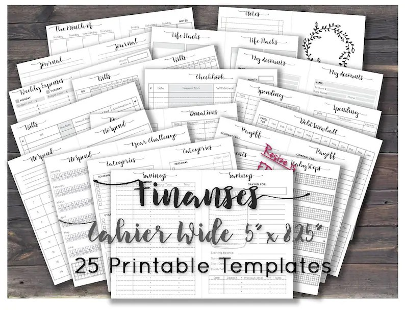 Wide travelers notebook inserts budget planner financial Etsy