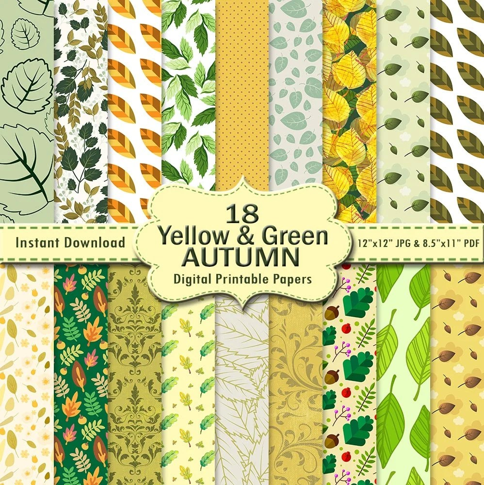 Autumn Scrapbook Paper Pack 18 Yellow Lime Green Mint Etsy