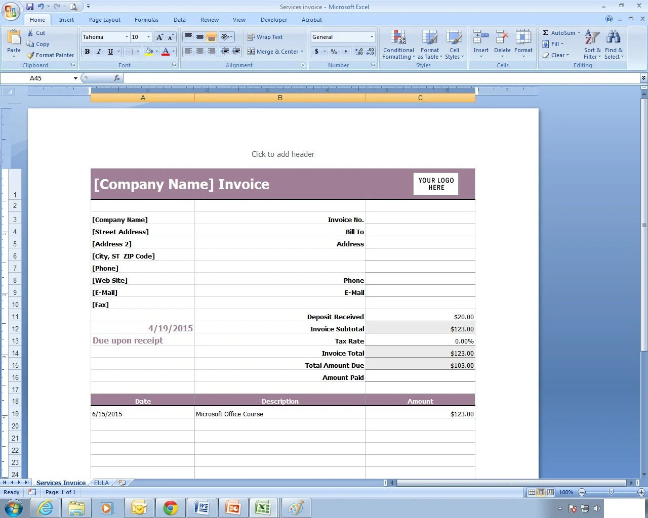 Services Invoice Excel Spreadsheet Template Etsy