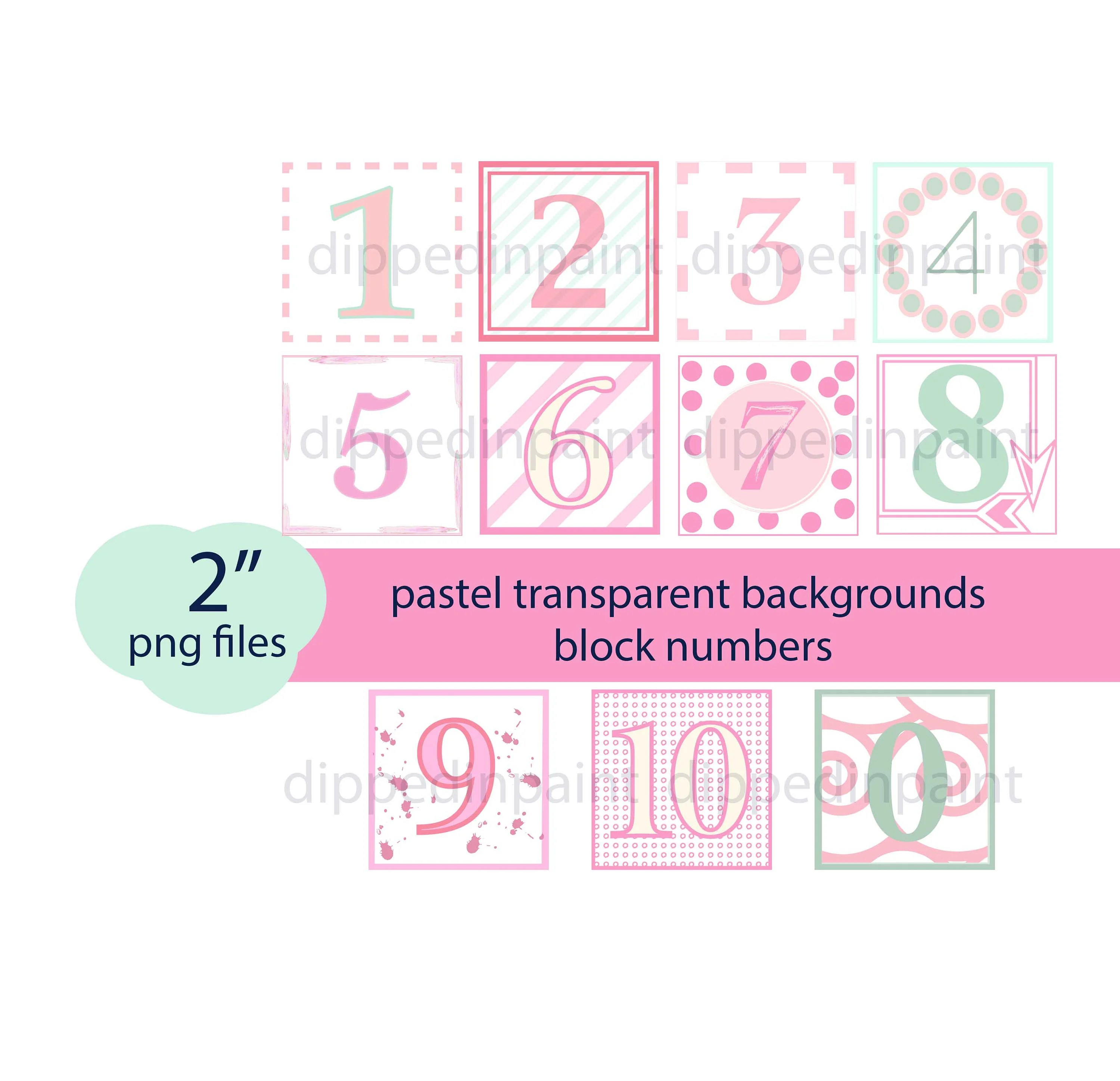 Baby Block Numbers 2 inch PNG Pink Digital 2 Inch Number Etsy