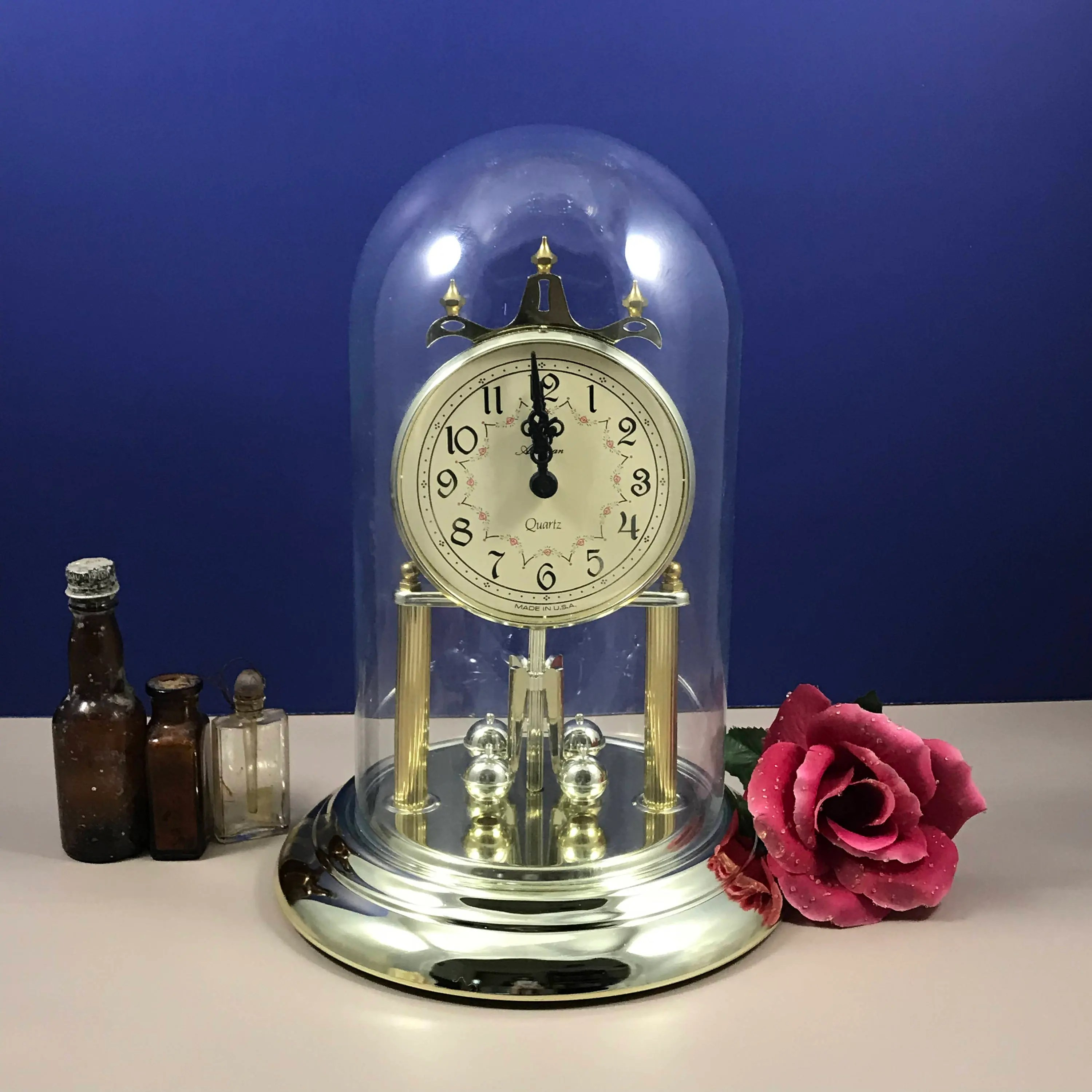 American Made Alarm Clock Elgin Brass Anniversary Clock Glass Dome Mantle Clock American