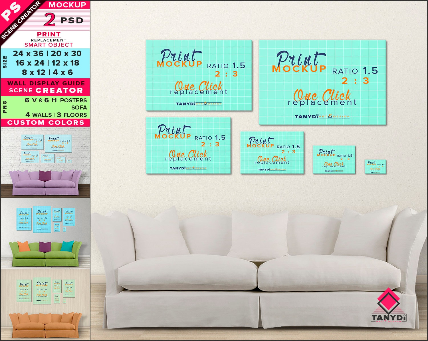Review 4x6 Sofa Wall Display Guide 24x36 20x30 16x24 12x18 8x12 4x6 Scene Creator Photoshop Print Mockup Vertical Horizontal Posters Sofa Interior 3 6