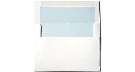 20 White with Light Blue Lined Envelopes A7 Size Etsy